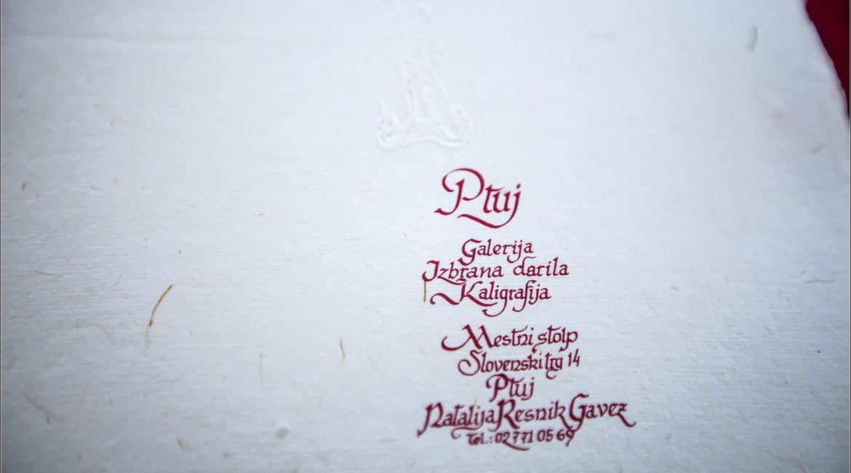 Galerija – izbrana darila – Kaligrafija v Mestnem stolpu