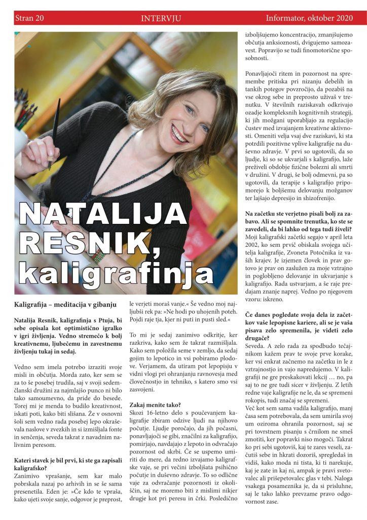INFORMATOR: Natalija Resnik, kaligrafinja